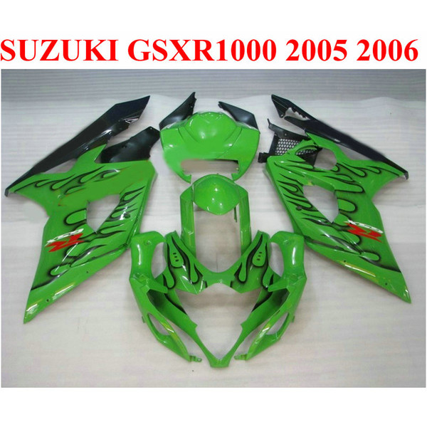 Perfect fit for SUZUKI 2005 2006 GSXR 1000 K5 K6 plastic fairing kit GSX-R1000 05 06 GSXR1000 black flames green fairings set QF50
