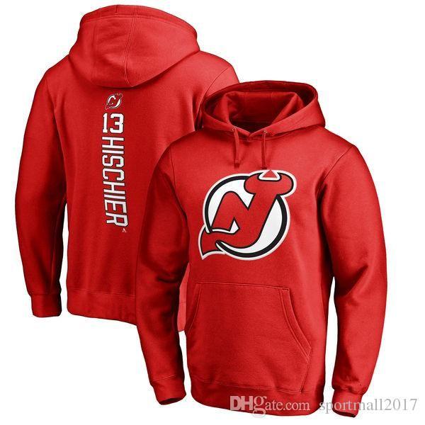 17-18 NHL New Jersey Devils hoodies 13 Nico Hischier 9 Taylor Hall herhangi bir özel İsim ve Numara Oyuncu tişörtü