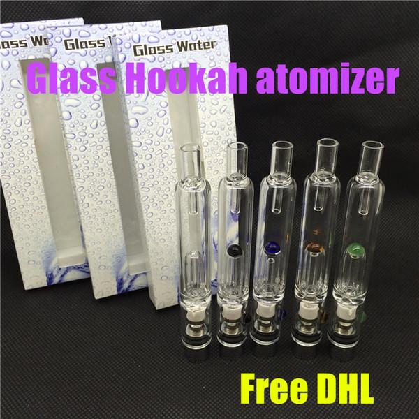 Pyrex Glass Hookah atomizer mini wax water atomizer tank Dry Herb Wax Vaporizer herbal vaporizers pen water filter pipe ecig bongs free DHL