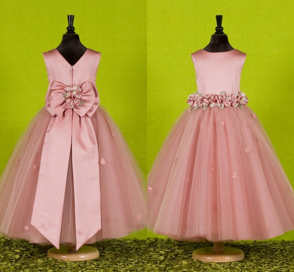 best selling Custom Made Beautiful Pink Flower Girls Dresses for Weddings 2016 Pretty Formal Girls Gowns Cute Satin Puffy Tulle Pageant Dress Spring