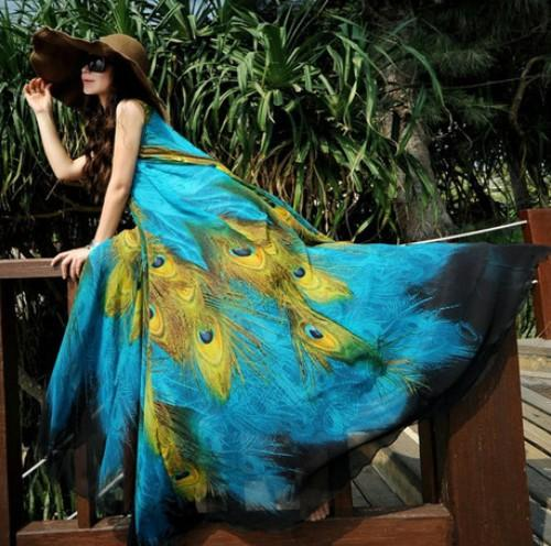 Fashion 2015 Summer New Long Section Chiffon Sleeveless Large Swing Peacock Print Dress Plus Size Bohemian Beach Dress Vestidos FG1511