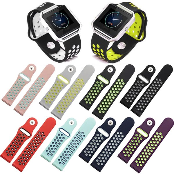 For Fitbit Blaze Strap 9 Color Sports Strap Breathable Two ColorS Injection Molding Band Strap Bracelet For Tracker Smart Watch