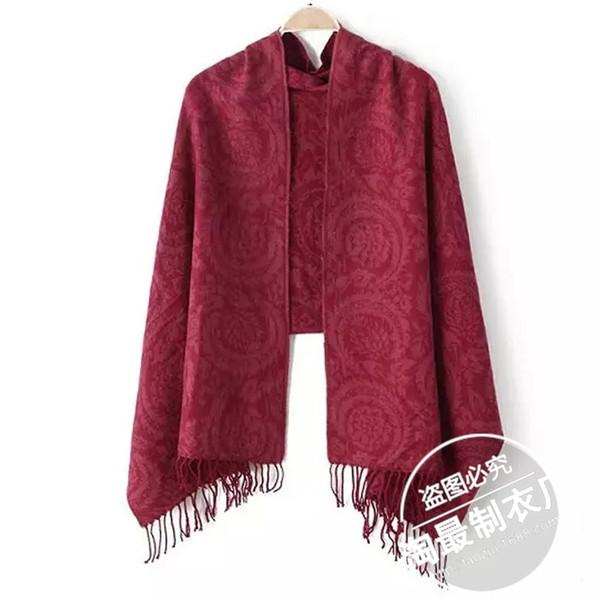 Nine.26-32YY8015 new winter dress trade jacquard cashmere scarves fringed shawl collar fashion
