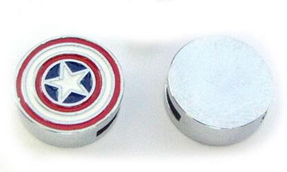 Internal Dia. 8MM DIY Alloy Slide Charm Captain America Fit For Key Chains Leather Bracelet Wristband Fashion Jewelrys