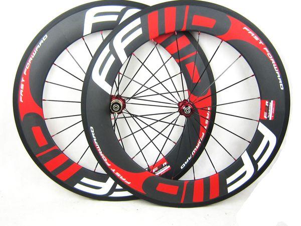 Roues de vélo de route 700C 88MM Roues de vélo de route 3K Weave Clincher carbone avec moyeux Novatec Vente 88C-23