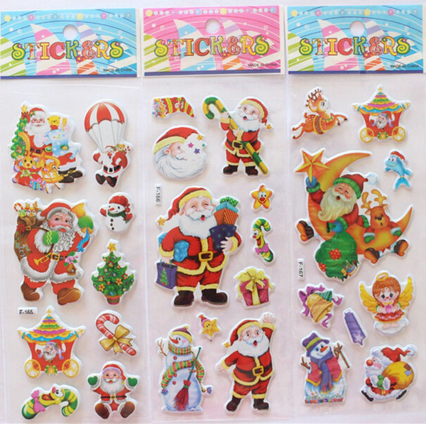 top popular 2015 hot sale Christmas 3D Cartoon Sticker Santa Claus Wall Stickers Christmas Tree Snowman gift Paster Kindergarten Reward for kids 2021
