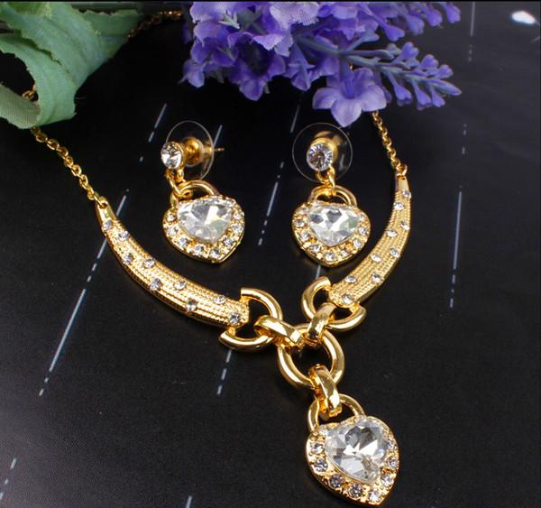 best selling Romantic Ocean Heart Pendant Design Wedding Set 18K Gold Plated Austrian Crystal Necklace Earrings Jewelry Set For Women Bridal
