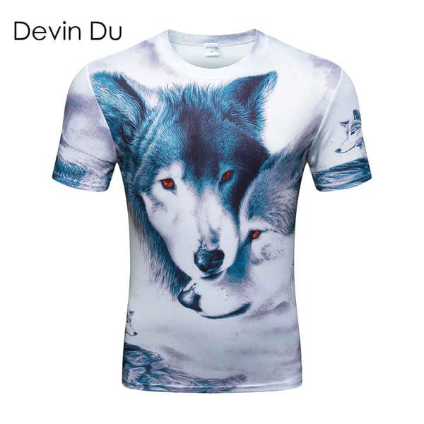 3d Майка мужчины 2017 лето новое прибытие 3D смешные волк мужская футболка расширенный плюс размер 4XL homme топ тройники Оптовая