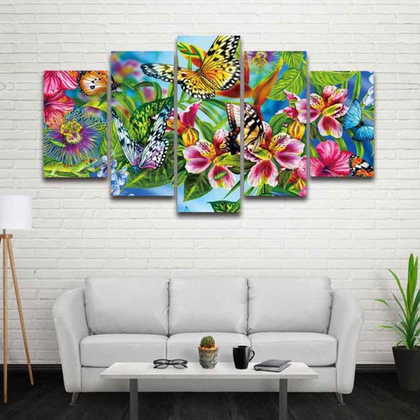 5 Panel Canvas Art Painting Artistic Colorful Flower Butterfly Prints Modular Picture Poster Artwork for Home Decor Living Room