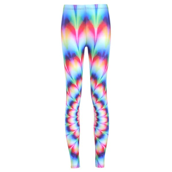 2017 NEW 3548 Colorful Rainbow Color wave Flower Prints Sexy Girl Pencil Yoga Pants GYM Fitness Workout Polyester Women Leggings Plus Size