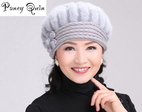 Wholesale- beautiful women winter fur hat cap middle-aged mother Fur Set  flowers Caps Lady Headgear warm Beanies Women s Winter Hats female 4333686d1e95