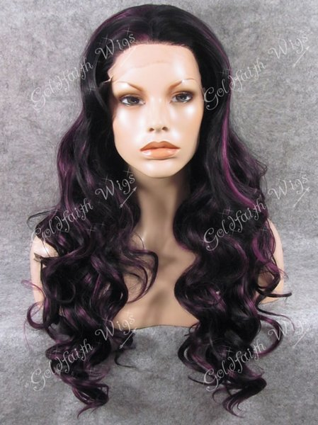 S07 #2/3700 Long Fashion Two Tone Highlight Brown Wavy Lace Front Synthetic Wig Celebrity Stylish Wet Wavy Wig Natural