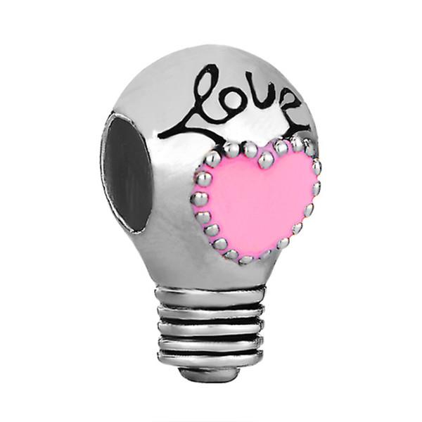 10pcs per lot Valentine's Day Pink Heart Enamel Love Bulb Charm European Bead Fit Pandora Chamilia Biagi Bracelet