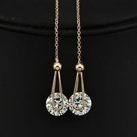 Drop Shipping Top Qualität 2 Karat Schweizer Kubikzircon Diamant Tropfen Linie Ohrringe Großhandel lange Kette Ohrringe Freies Verschiffen, kann Farbe mischen