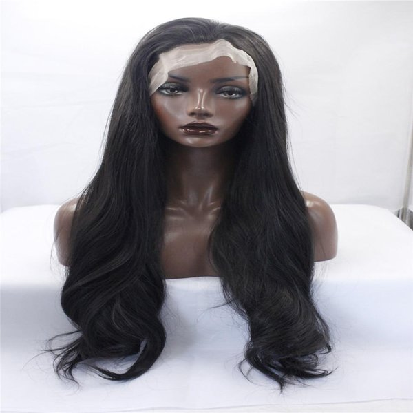 kabell Fashion wig lace front wigs OneDor 26 Inch Full Head Wavy Kanekalon Black Auburn Highlight Hair Wig Straight hair kabell