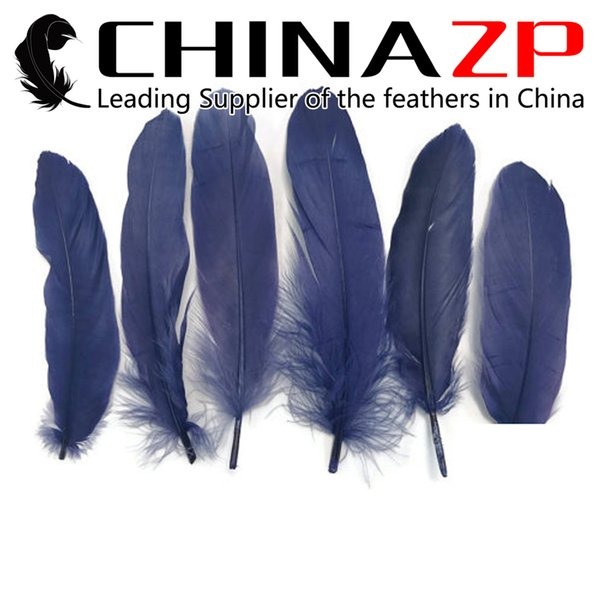 Exporting from Leading Supplier CHINAZP Crafts Factory 10~15cm(4~6inch) Dyed Navy Blue Goose Wing Loose Feathers for Stage Performances