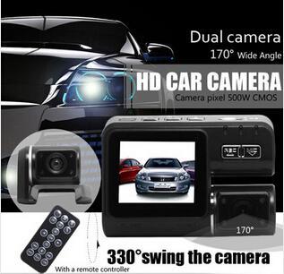 Nuevo Real Full HD 1080 P Dual Lens Car DVR Dual Camera Car Video Recorder Blackbox Dash Cam Visión Nocturna 140View Dual Lens Camcorder i1000 DHL