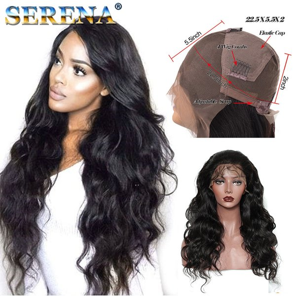 Natural Hairline Brazilian For Black Women Top Quality Full Lace Wigs Human Hair Front Lace Wigs Wavy Natural Color With Baby Hair