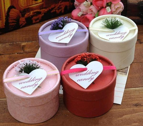Estilo europeo caliente Nueva cinta de seda y lavanda Caja de dulces Cilíndrica Favores de la boda Titular de regalo de oro envío gratis