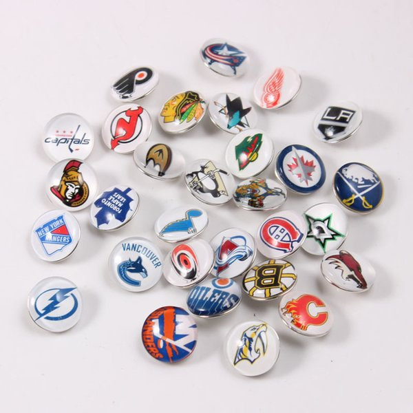 Wholesale 30pcs/lot Mixed Colors Ice Hockey Team For 18mm and 20mm Glass Cabochons Charms Fit Snap Button Bracelet Onyx 20cm Jewelry