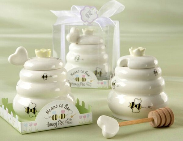 top popular New arrival wedding baby shower favor gifts Meant to Bee Ceramic Honey Pot 2019