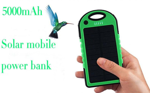 5000mAh Portable 2 USB Port Solar Power Bank Charger External Backup Battery With Retail Box For iPhone iPad Samsung Mobile Phone bank