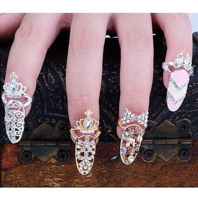 best selling Colorful Crown Crystal Finger Nail Art Ring Jewelry Nail Finger knuckle Rings tail ring Butterfly knot crown protect nail alloy Accessory