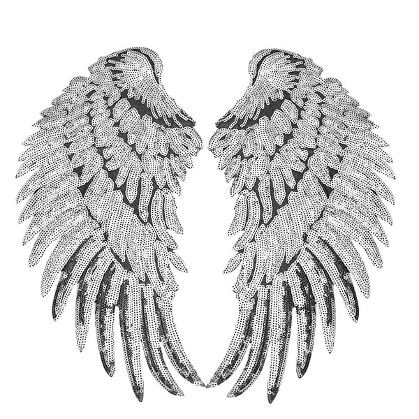 best selling 1 Pairs Sequined Wings Patches for Clothing Iron on Transfer Applique Patch for Jacket Jeans DIY Sew on Embroidery Sequins