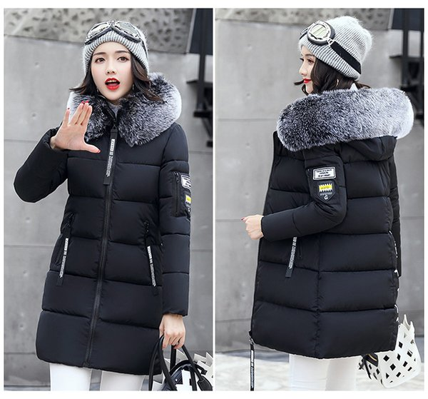 Women Winter Long Jacket Slim Collar Hooded Woman Down Parka Womens Cotton Padded Coats Casual Thick Jacket