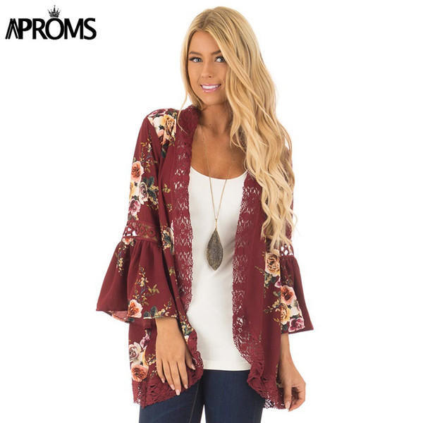 Al por mayor-Aproms flare Sleeve Crochet Lace Chiffon Coat Mujeres 3/4 manga Floral Print Kimono Ladies Casual Outlet abierto exterior Outwear Tops