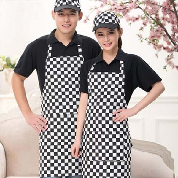 best selling Professional Hanging Neck Bib Apron Adjustable With Pockets Black   White Pinstripe Barista Chef Men And Women Overalls Kitchen Apron