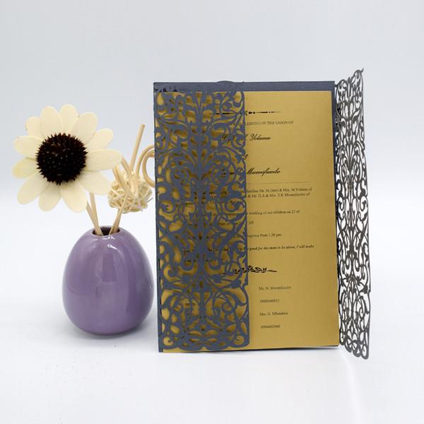 Dark Gray Glitter Wedding Invitations 2018 Laser Cut Flower Invitation Cards For Birthday Business Dinner Party Invites Wedding Favors Pocket Fold