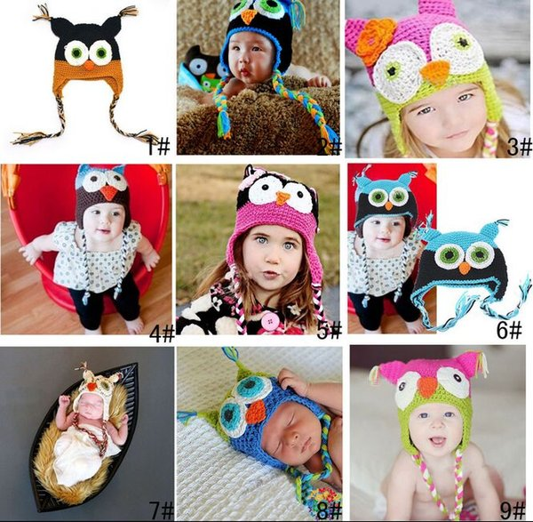 NEW Hot sales Baby hand knitting owls hat Knitted hat Children's Caps 9 Color crochet hats for kids