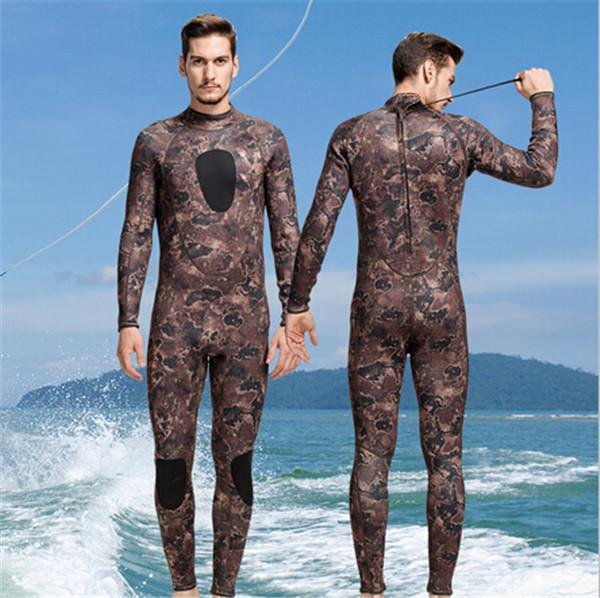 Men's 3mm Neoprene Winter Wetsuit Camouflage Swimwear Rash Guard Long Sleeve Full body Diving Suit Green Grey XXL Free Shipping