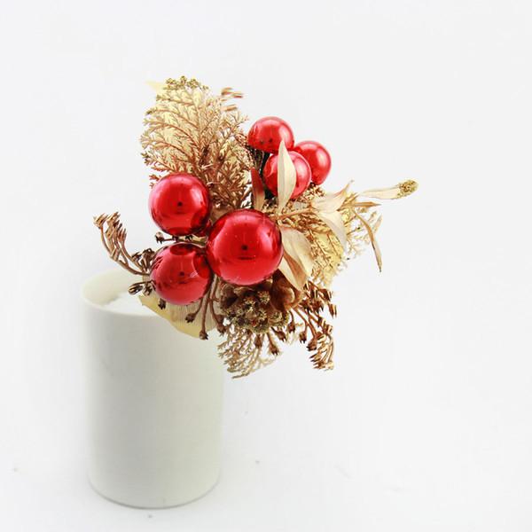 5pcs 10 15cm Artificial Simulation Decoration Flowers Branch Pinecone Fruit Home Party Christmas Tree Ornament