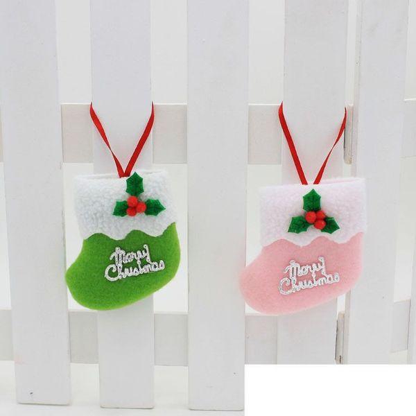 2017 hot Lovely socks for Christmas decorations Christmas tree decorations for Christmas ornaments free shipping