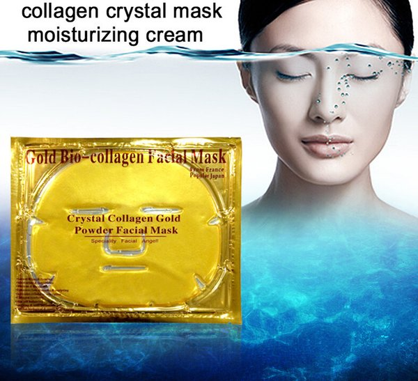 Gold Bio-Collagen Facial Mask Face Mask Crystal Gold Powder Collagen Facial Mask Moisturizing Anti-aging Whitening with Retail Packaging