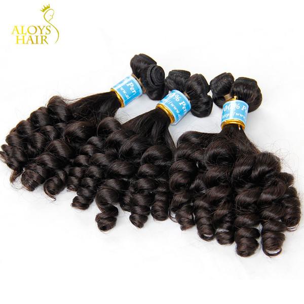 3 pz lotto grezzo non trasformati vergine peruviana aunty funmi capelli umani tessuto spirale gonfiabile romanticismo sciolto riccioli estensioni dei capelli remy doppie trame