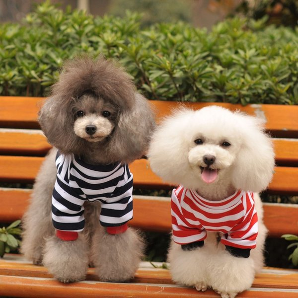 Factory wholesale Dog apparel classical spring summer dog clothes horizontal stripe T-shirts teddy dog clothes red&balck colors