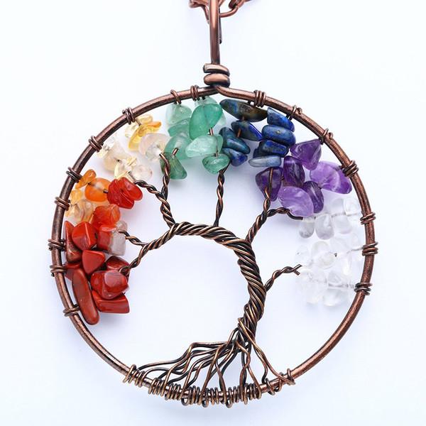 Baum des Lebens Anhänger Amethyst Rose Kristall Halskette Edelstein Chakra Schmuck Valentinstag Mütter Tag Geschenke Frauen Weihnachtsgeschenk für sie