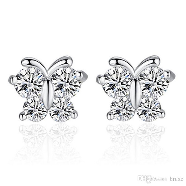 best selling Female white fungus Jewelry Ladies Butterfly Dream Korean super flash zircon earrings wholesale factory can be customized