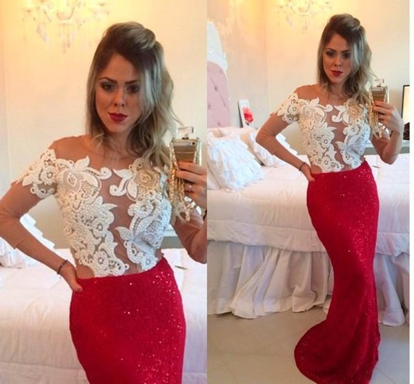 Custom Made Pearl Bead Sheer Neck Long Sleeve Mermaid Formal Evening Dresses White And Red Sexy Prom Dress Pageant Gowns Exquisite Vestidos