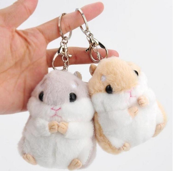 top popular Baby Kids Kawaii Cute Soft Plush Cartoon Animal White Khaki Small Hamster Toy Doll Key Chain Stuffed Mouse Toy 2020