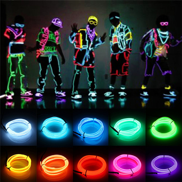3M Flexible Led Neon Light Glow EL Wire String Strip Rope Tube Cable+Battery Switch Water Resistant LED Light