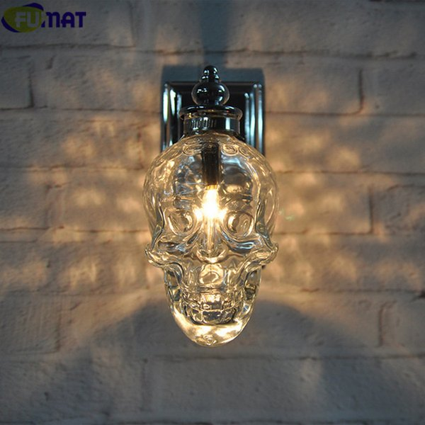 FUMAT Retro Industrial Loft Wall Lamps Glass Skull Bottle Light Fixture Creative Bar Wall Sconce Modern Wall Light Lamp Chrome