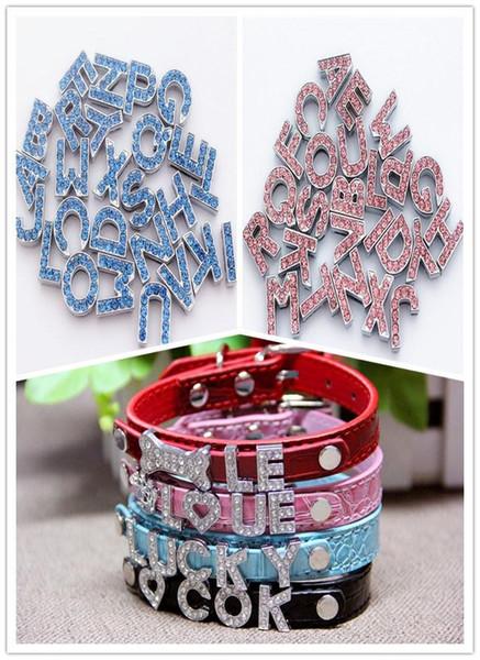 2015 HOT Sale 10mm Crystal Block Slide Letter A-Z Personalized DIY Name Slide Letters for Dog Pet Collar Pet Product blue pink 1000pcs 524