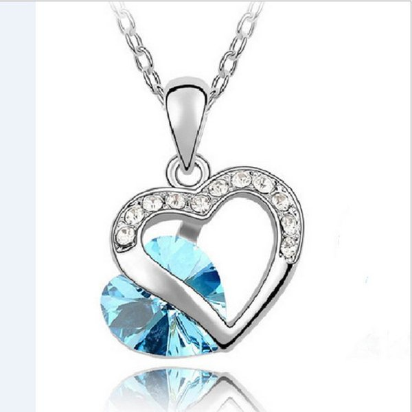 925 Sterling Silver Crystal Clavicle Jewelry Heart Pendant Statement Necklace Chain Vintage Wedding Charm Fashion Women Rhinestones Necklace