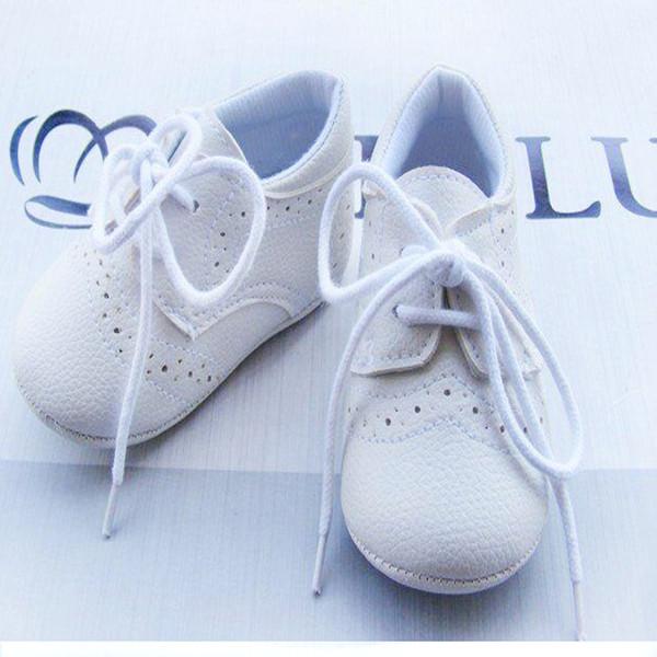 Al por mayor-venta caliente1pair zapatos de bebé de cuero de la marca con cordones primeros caminantes niño / niñas botas de goma niño / bebé / recién nacido calzado antideslizante