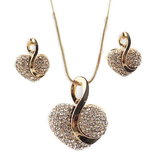 Ein gesetztes freies Gold der Verschiffen Frauen 18k füllte Glanz österreichisches Kristallherzform Kettenhalsketten-Ohrring-Schmucksache-Satzfrauengeschenk