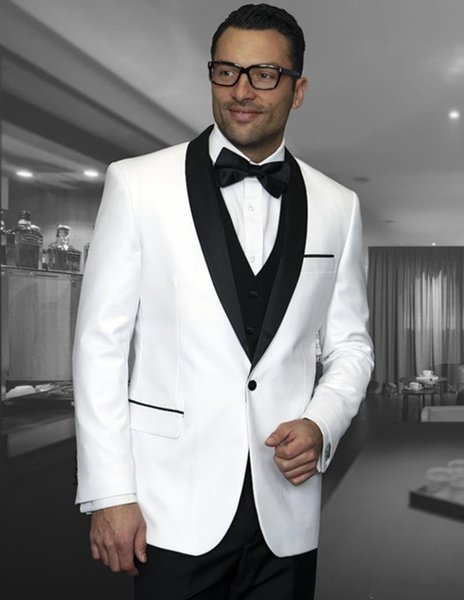 Classy White Black Wedding Tuxedos Slim Fit Suits For Men Groomsmen Suit One Pieces Jackets Cheap Prom Formal Suits(jacket+pant+vest)